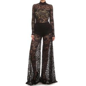 Black Crochet Lace Wide Leg Palazzo Jumpsuit